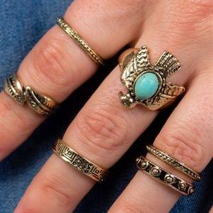 Jewelry - GOLD & TURQUOISE BOHO RING SET
